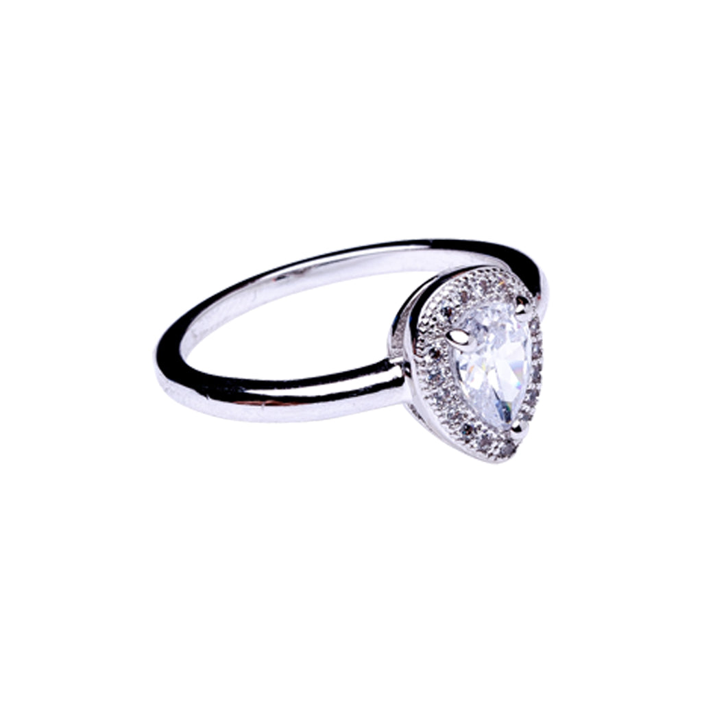 Pear Ring with Halo