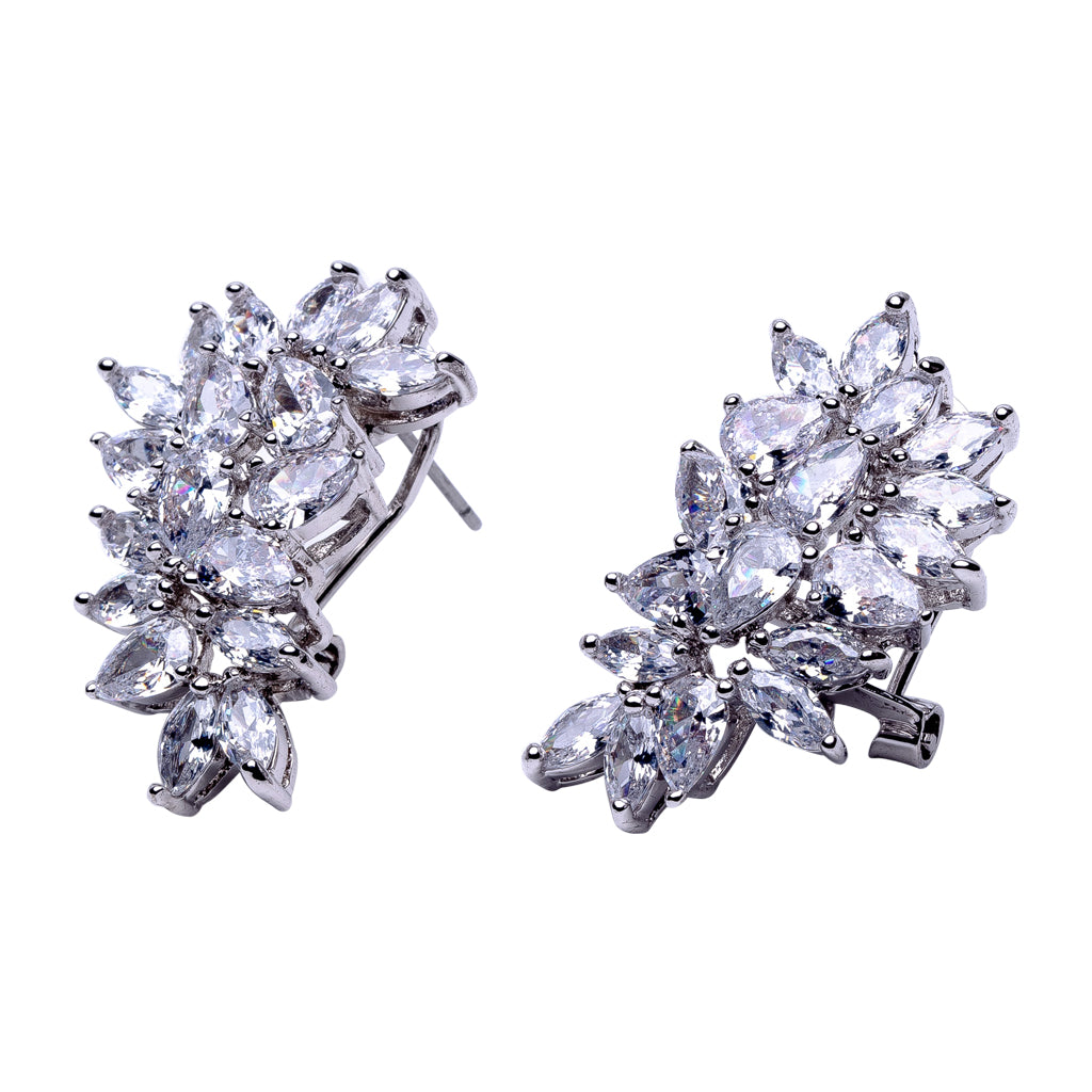 Pear and Marquise Cluster Earrings