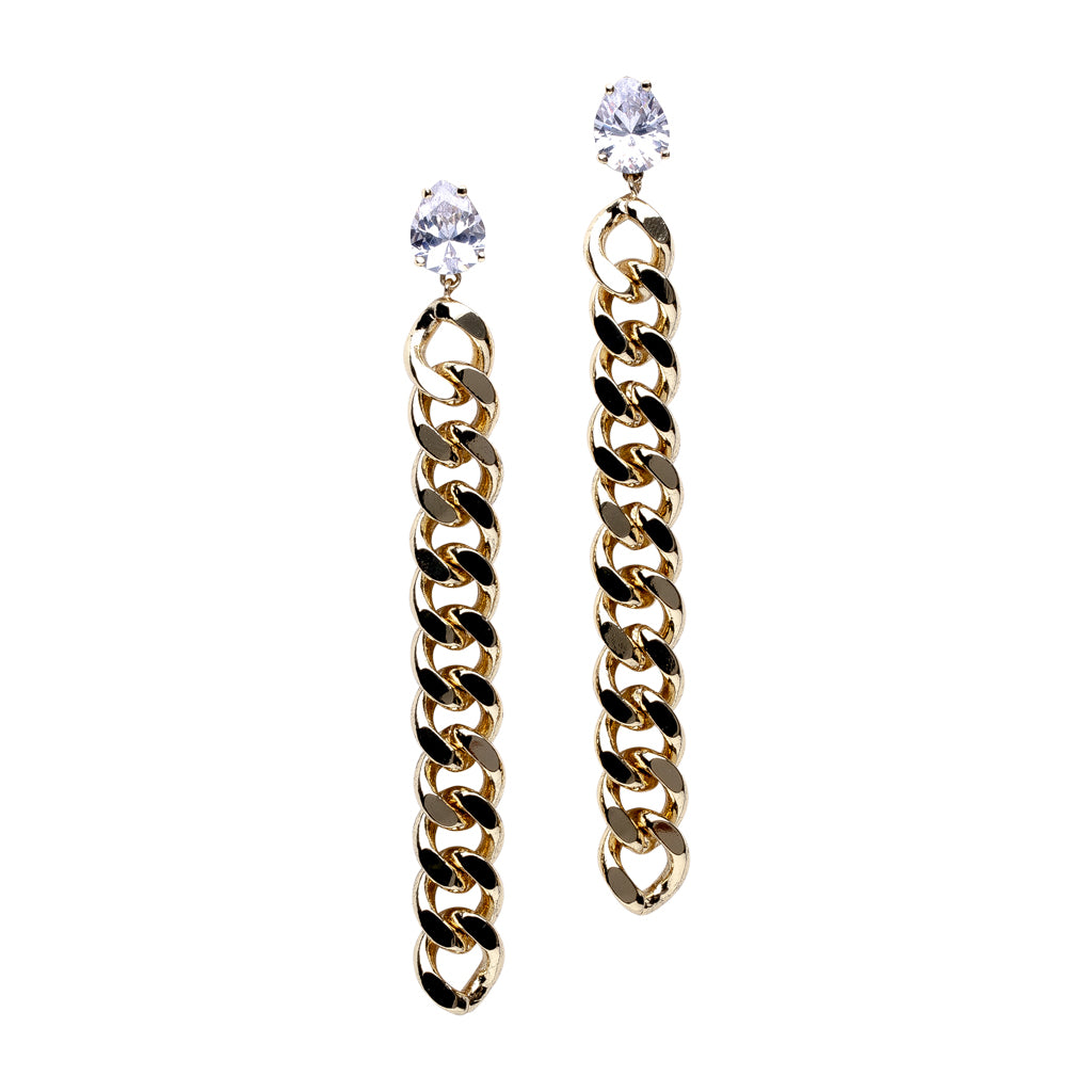 Pear Post with Chain Drop Earrings in Yellow Gold