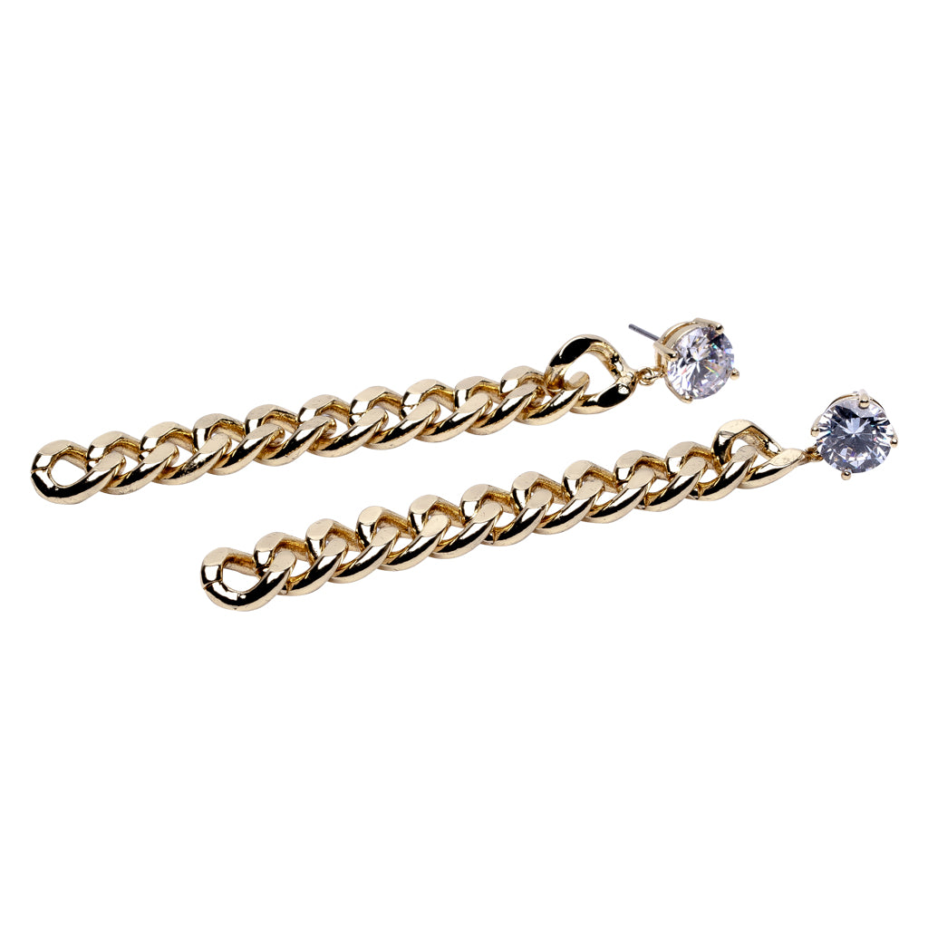 Round Stud Drop Chain Earrings