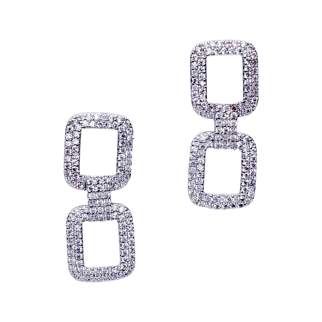 Square Pave Link Earrings