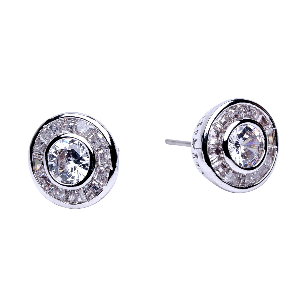 Princess Stud with Round Halo Earrings