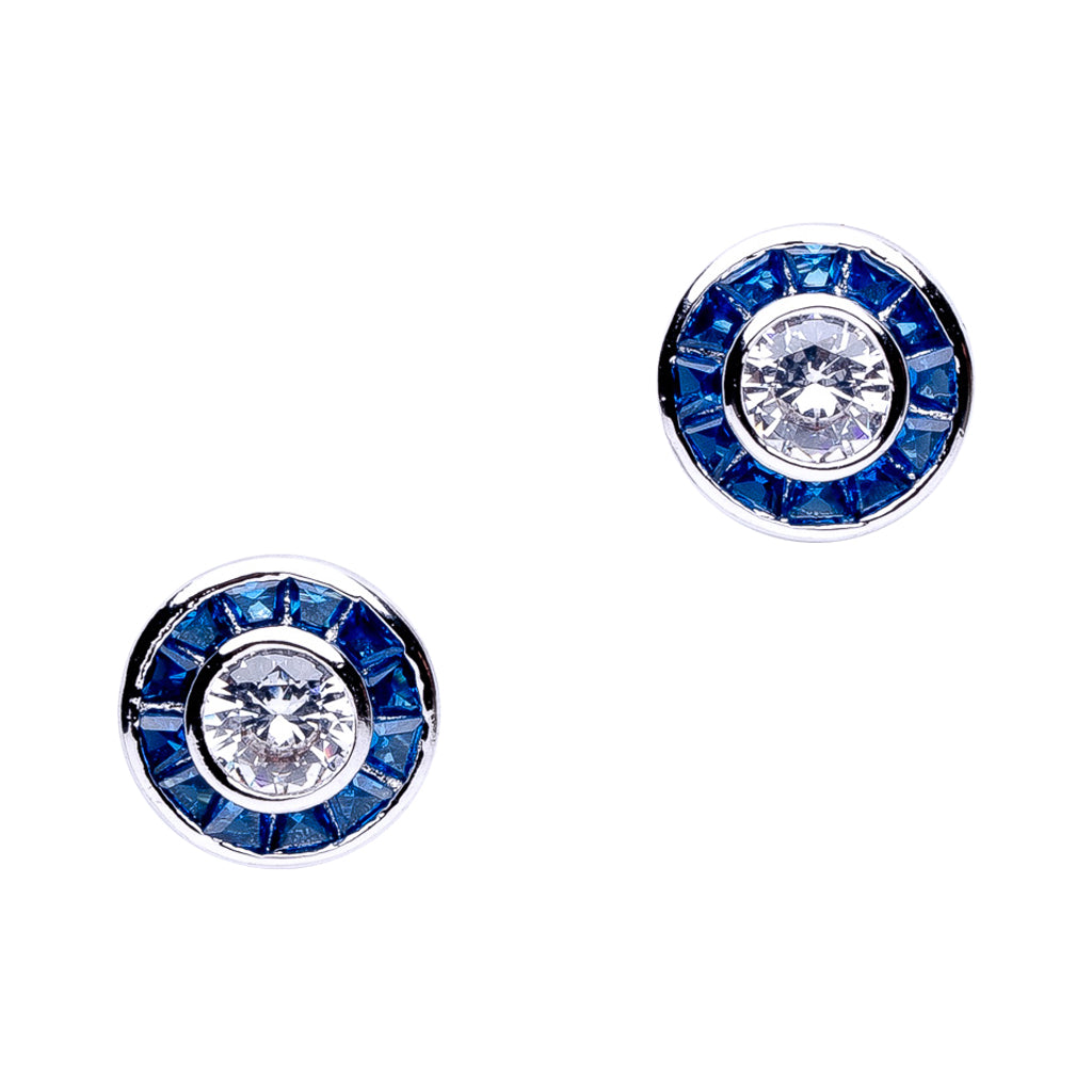 Blue Princess Stud with Round Halo Earrings