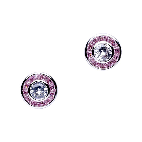 Pink Sapphire Baguette Inside Out Hoop Earrings