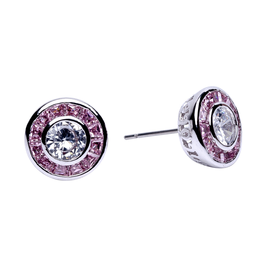 Round CZ Stud with Pink Princess Halo