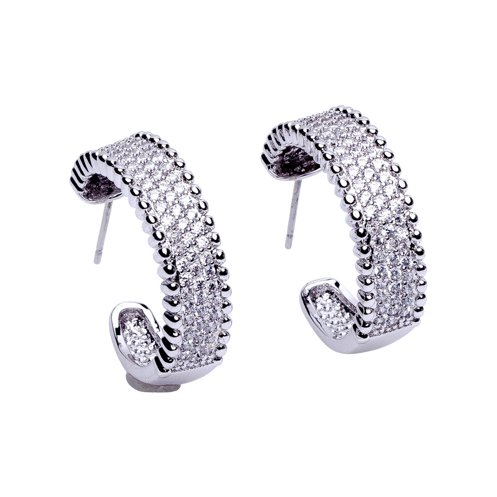 Pave and Bead Trim Hoop Earrings