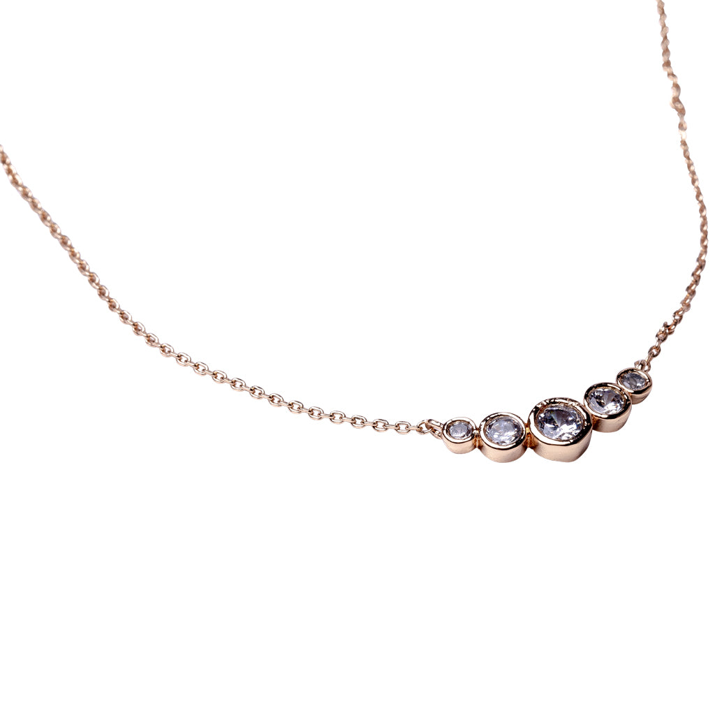Round Graduated Bezel Set Necklace