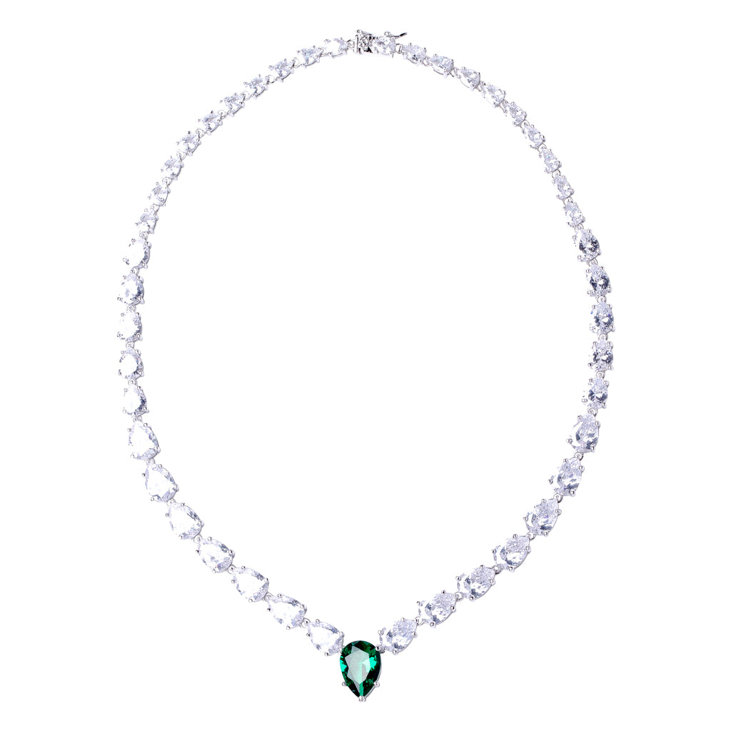Graduated Emerald Pear Necklace