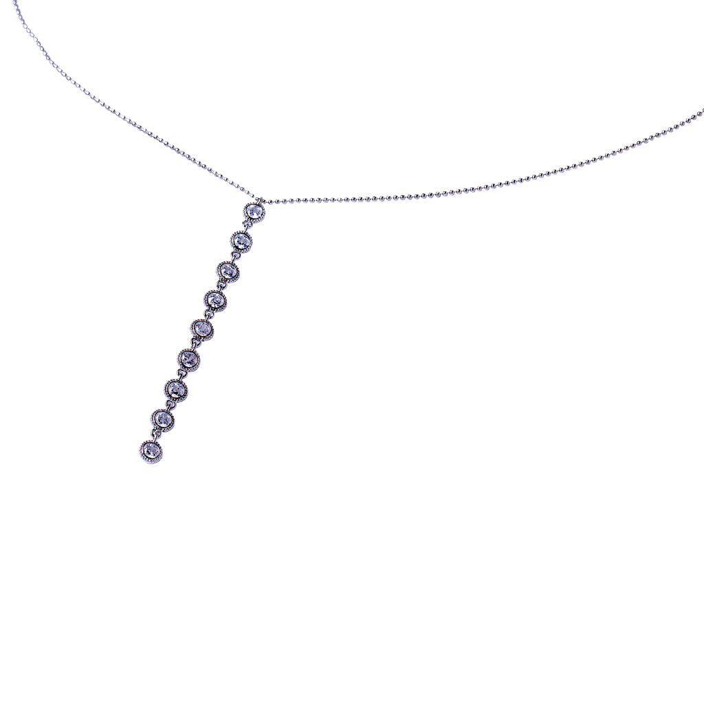 Round Bezel Linear Drop Necklace