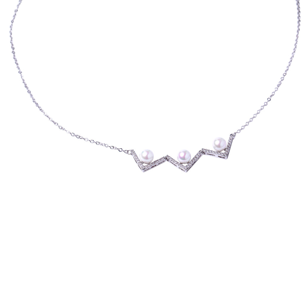 Pave Triple V Pendant Necklace