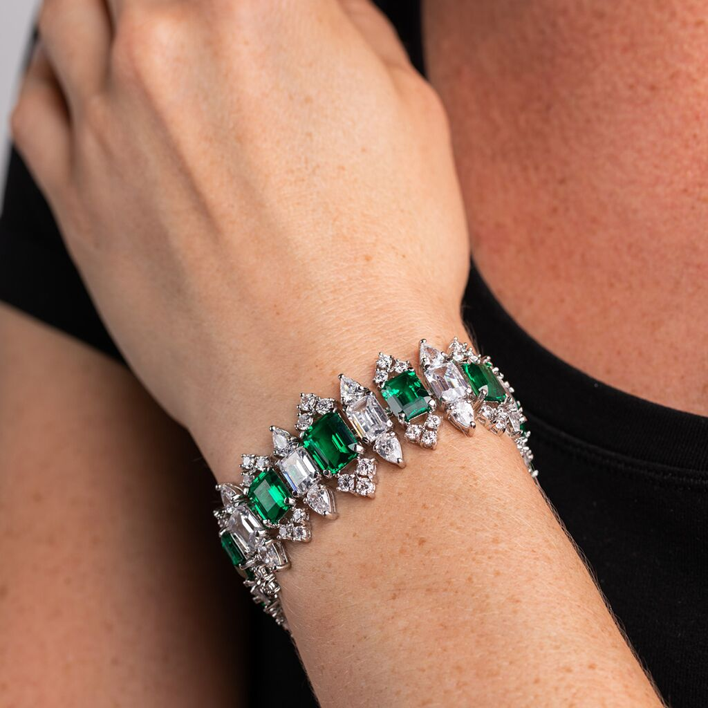 Emerald and Pear Tennis Bracelet