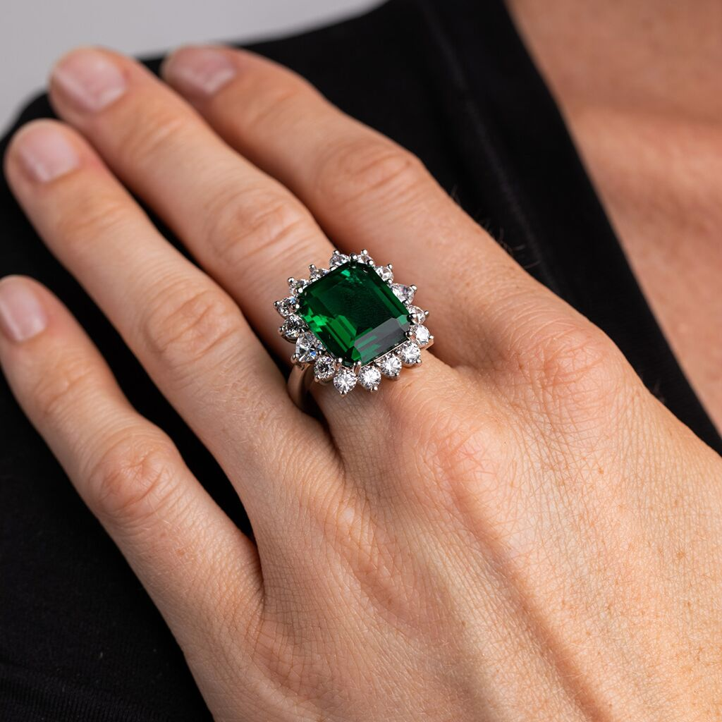 Asscher Cut Emerald Colored Ring