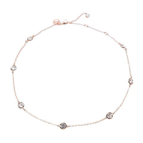 Round Graduated CZ and Chain Necklace