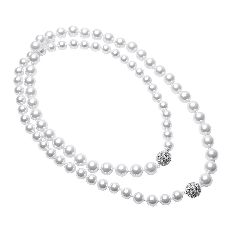 Double Pave Clasp Pearl Necklace