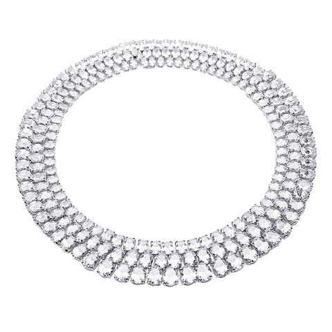 CZ Mosaic Collar Necklace