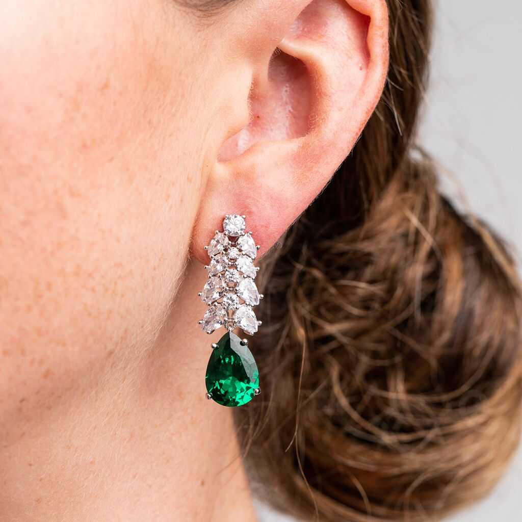 Mixed Cluster Emerald Pear Dropped Earrings