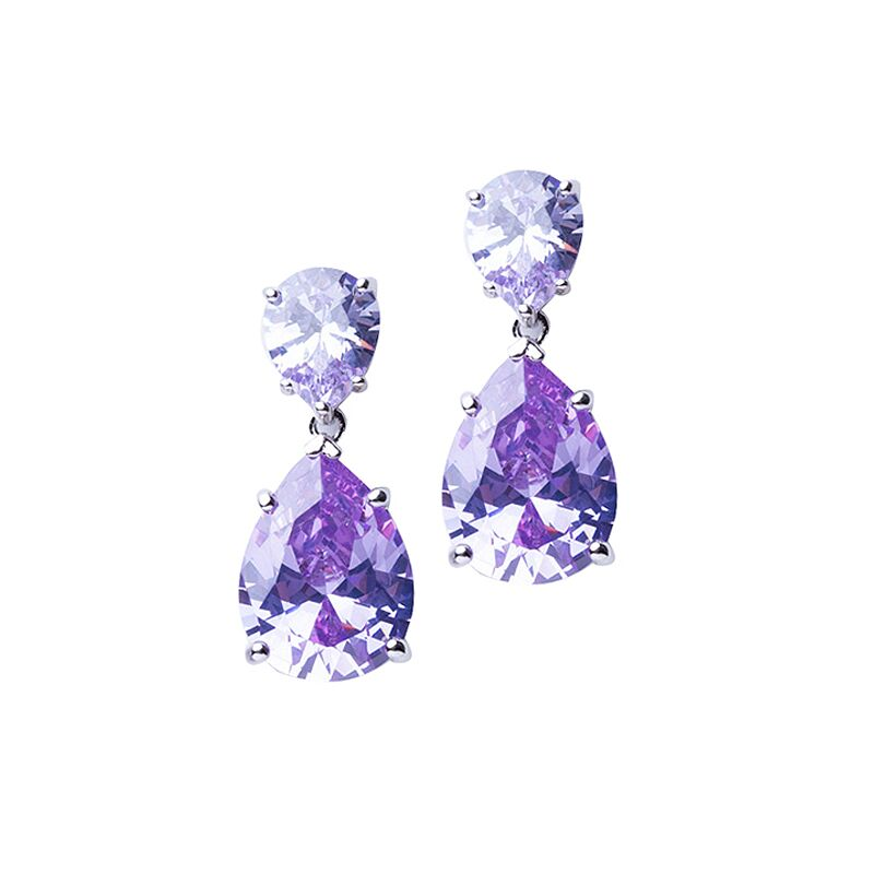 Lavender Double Pear Drop Earrings