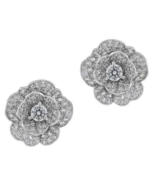 Pave Flower Clip On Earrings