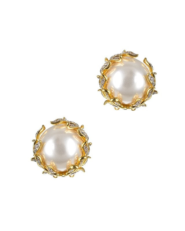 Pearl and Vine Clip On Earrings