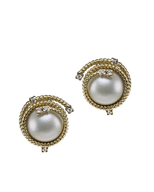 Pearl and Rope Clip on Earrings