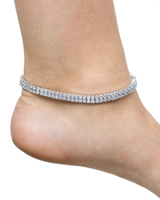 Round Double Row CZ Anklet