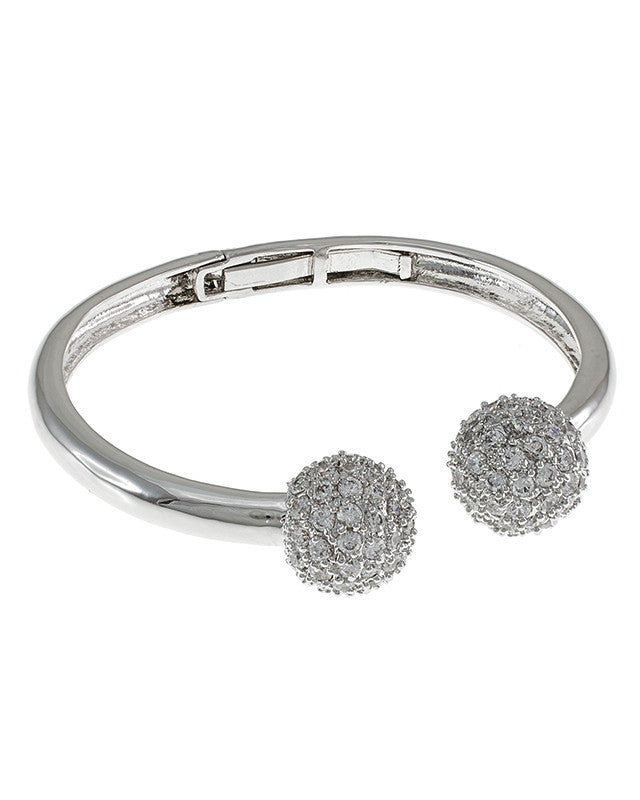 Pave Ball Hinged Cuff