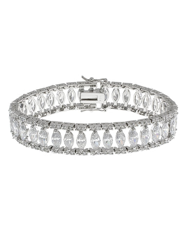 Round CZ Crown Set Bracelet