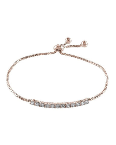 Rose Gold Plated Round CZ Adjustable Bolo Bracelet