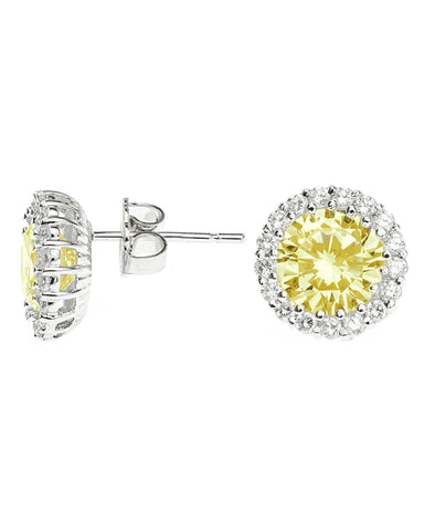 Classic Canary Pavé Round Pierced Stud Earring