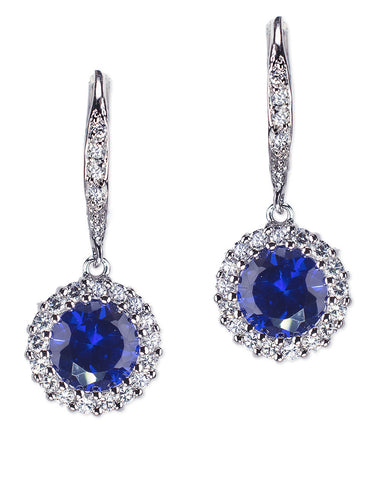 Classic Sapphire Round Drop Pierced Earring