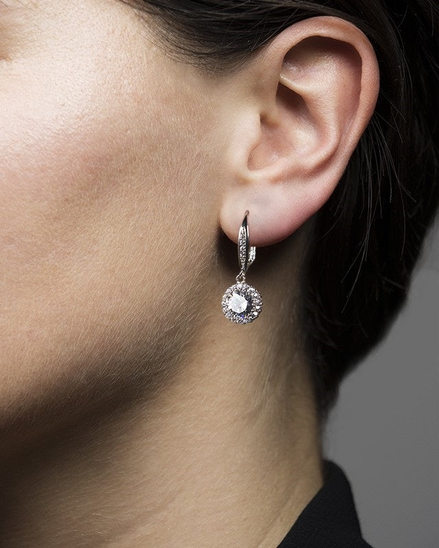 Round CZ and Halo Drop Earrings