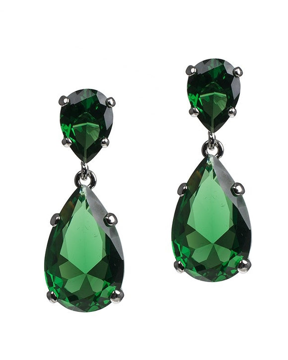 Statement Emerald Pear Drop Earrings
