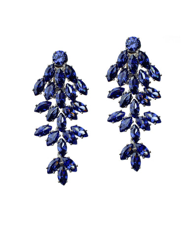 Blue Sapphire Marquise Waterfall Clip Earring