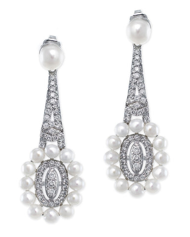 Oval and Round CZ Earrings