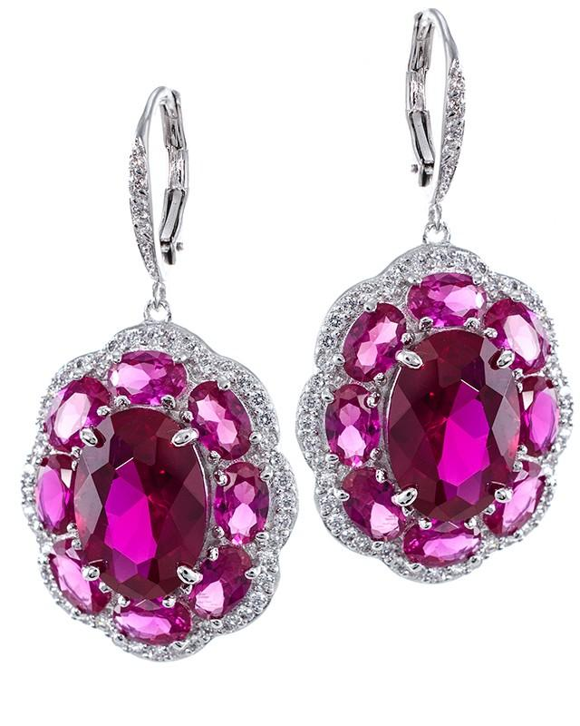 Ruby CZ Statement Earrings