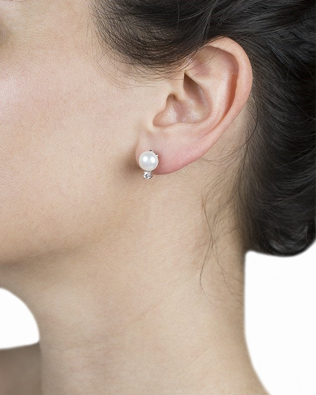 Freshwater Pearl and CZ Earrings