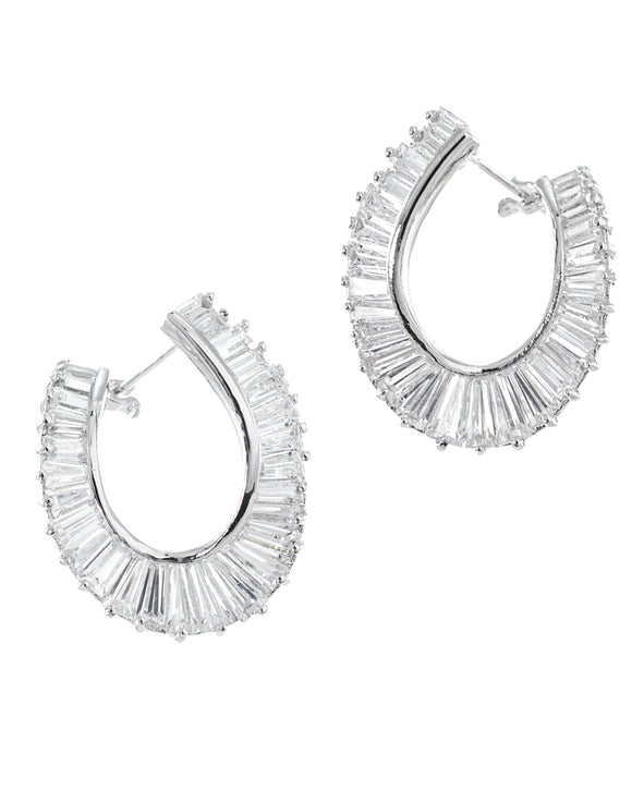 Baguette Spiral Hoop Earrings