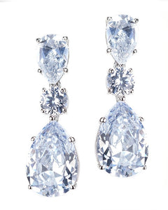Triple Drop CZ Earrings