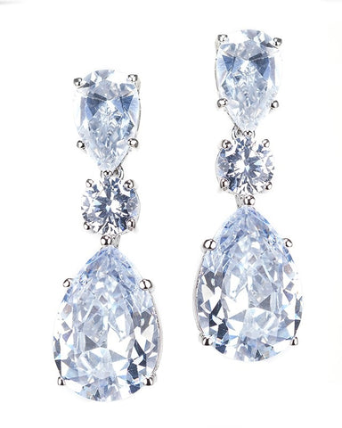 Oval and Baguette CZ Earrings