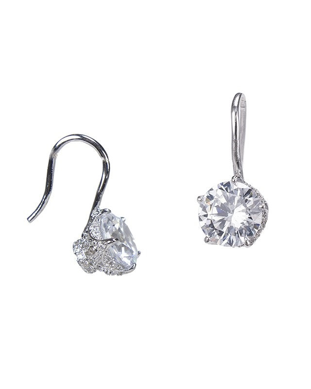 Round drop CZ Earring