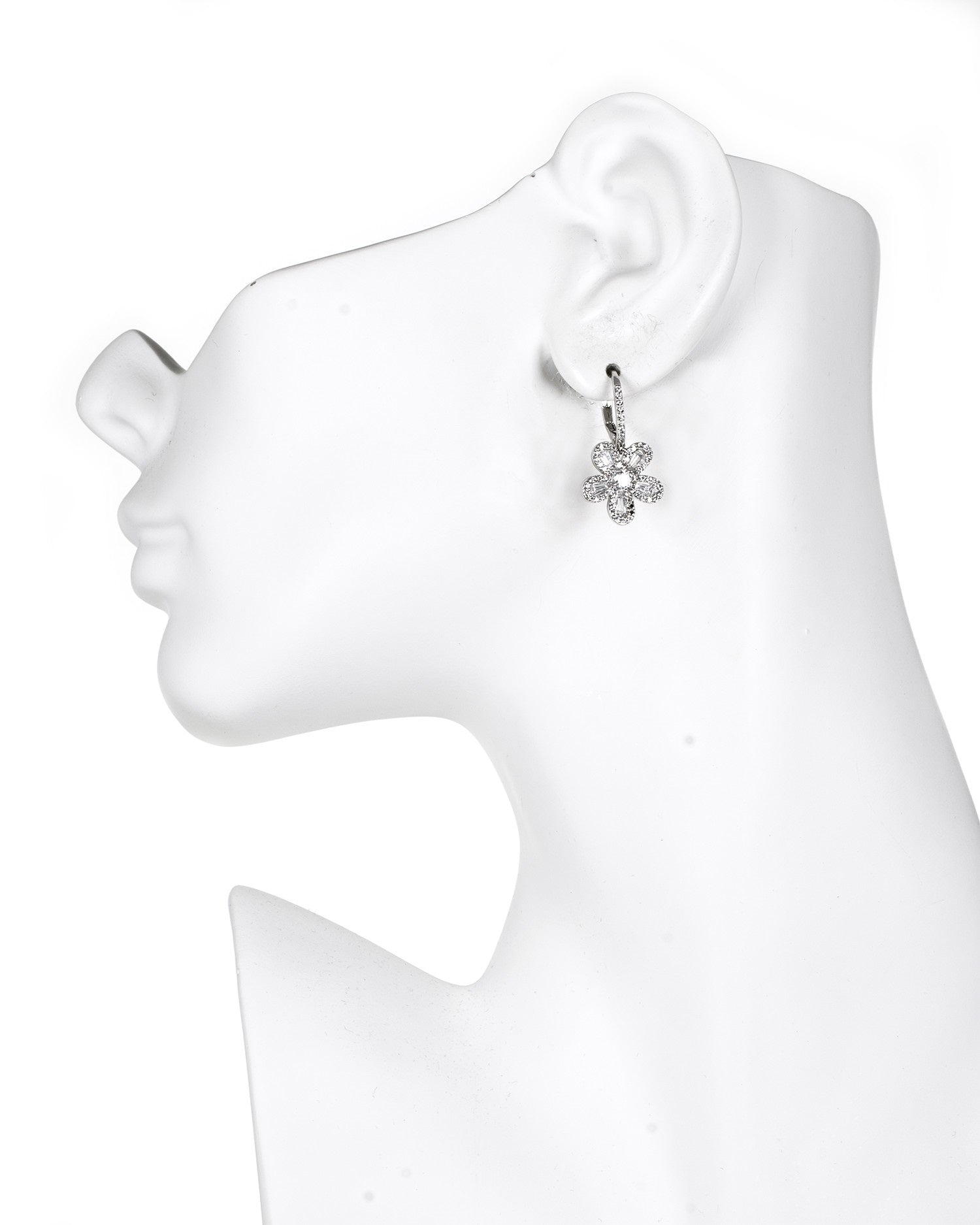 Baguette CZ Flower Earrings