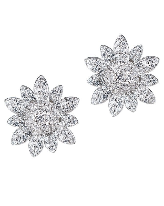 Pave 3D Flower Earrings