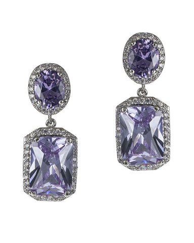 Amethyst Radiant Oval/Emerald CZ Double Drop Earrings