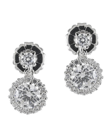 Signature Round Halo Drop Earrings