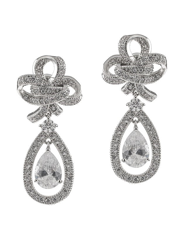 Pave CZ Bow Earrings