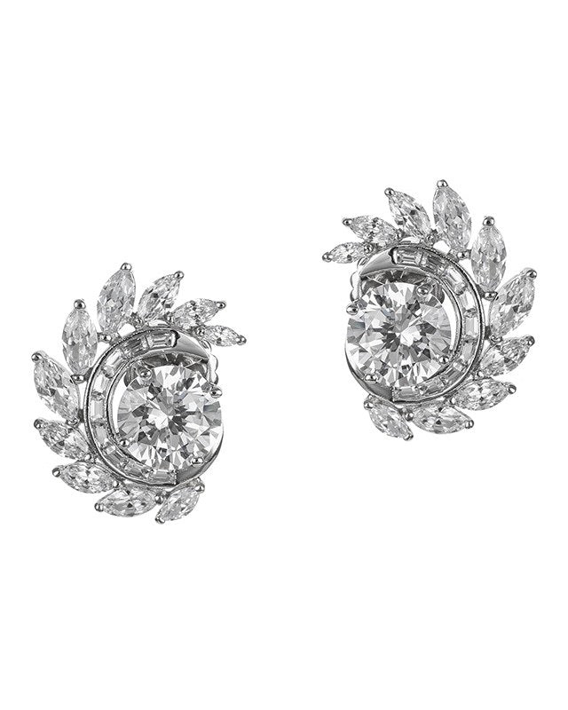 Round CZ Statement Clip Earring