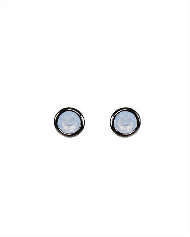 Opal CZ Bezel Set Stud Earrings