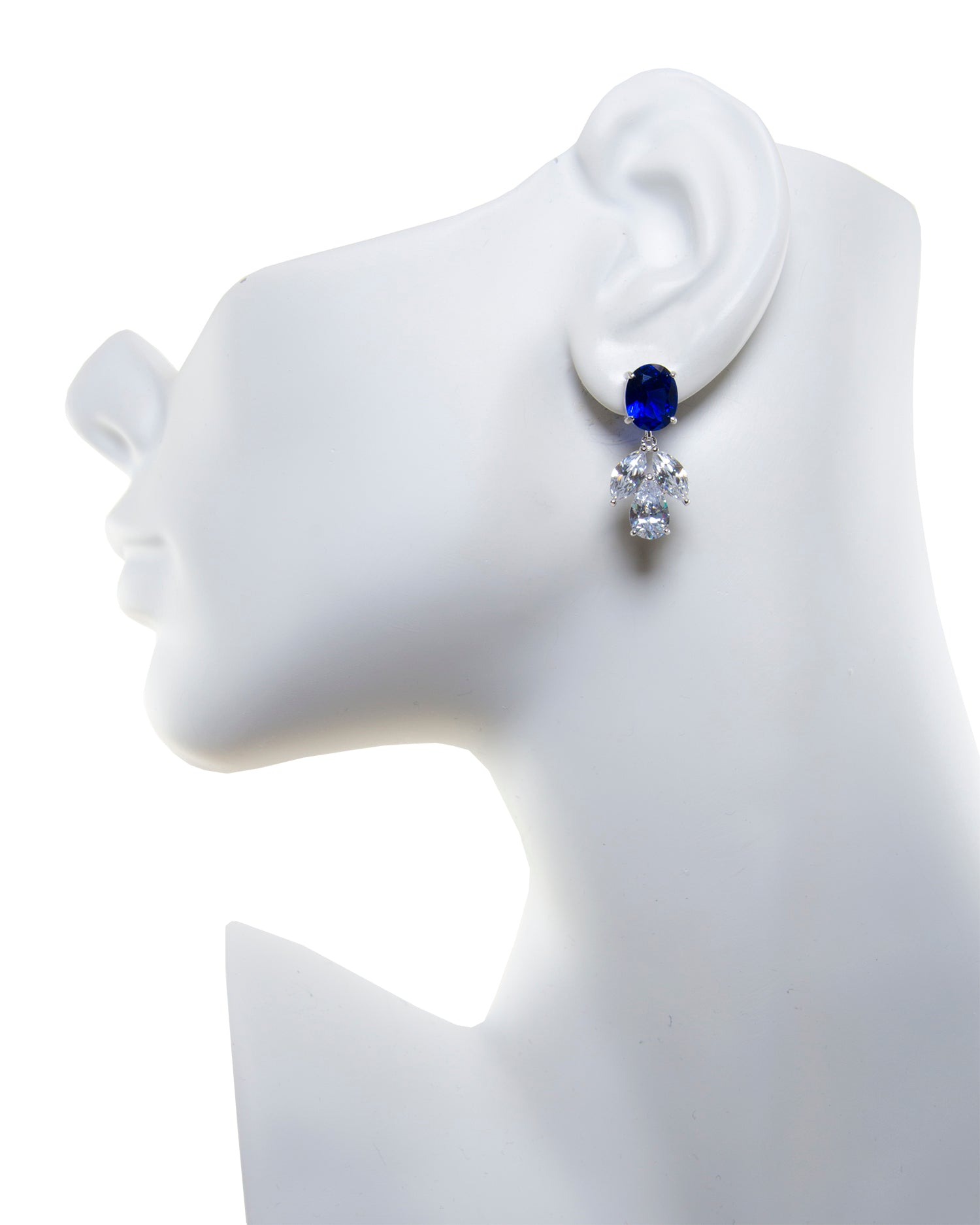 Blue Multi Shape CZ Drop Earrings