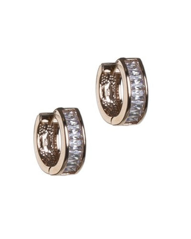 Emerald Cut Diamond Simulant Huggie Hoops