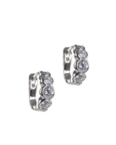 Round Diamond Simulant Mini Hoops
